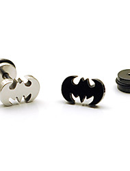 Fashion Multicolor Titanium Steel Stud Earrings(Silver,Black) (1 Pc)