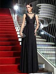 A-Line V-neck Floor Length Jersey Homecoming Prom Formal Evening Military Ball Dress with Side Draping by TS Couture®