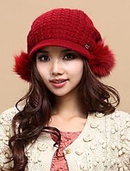 Xiaerbeiluo Strick Fox Haar Bulb Hat (Red)