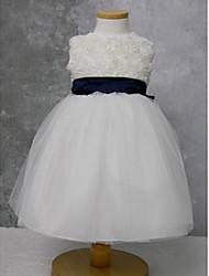 Mädchen Runde Kragen Flower Dress