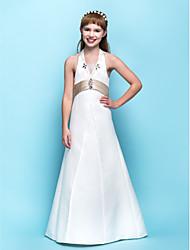 Floor-length Satin Junior Bridesmaid Dress - Ivory A-line Halter
