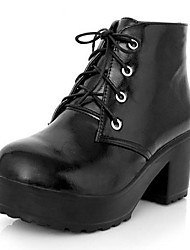 Faux Leather Women's Chunky Heel Motorcycle Ankle Boots(More Colors)
