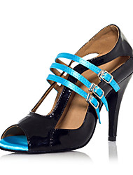 PU & Satin Multi-Buckle Hollow-out Color Block Latin Dance Sandals For Ladies