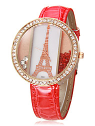 Women's Eiffel Tower Pattern Rolling Beads Round Dial PU Band Quartz Analog Wrist Watch (Assorted Colors)