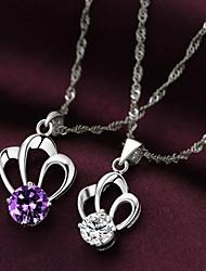 Sterling Silver élégant avec le collier des femmes pendants de Zircon (Violet, Transparent)