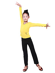 Dancewear Japanese Cotton Ruffle V Neck Solid Color Ballroom Dance Top For Kids(More Colors)