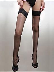 Frauen sexy Mesh hohe Strümpfe mit Spitzenrand in schwarz rot und weiß