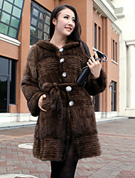 Long Sleeve Hooded Mink Fur Party/Casual Coat(More Colors)