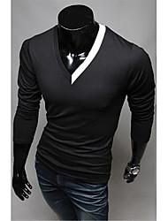 Manica collo a V Fit elastico Camicia A & W Uomo Nero Lunghi