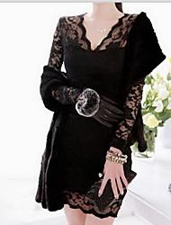 CoolCube Frauen V-Ausschnitt Lace Long Sleeve, figurbetontes Kleid Schwarz