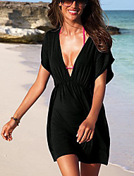 Women's Solid Beach Cover-up Mini Dress