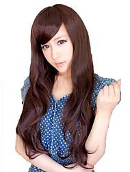 Black/Brown Side Bang Synthetic Long Wavy Wig