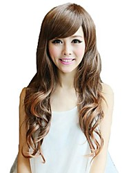 Capless Long Wavy Light Brown Synthetic Side Bang Wigs