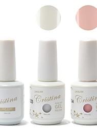 Cristina 2PCS Gel UV Cor & 1PCS UV Top Gel Coat & 48PCS prego Tip Guides Kit Manicure