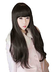 Capless Long Straight Dark Brown Synthetic Full Bang Wigs