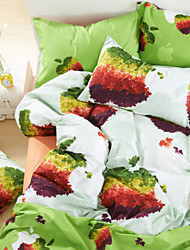 Duvet Cover Set,4-Piece 100%Cotton Reactive Printed Green Apples