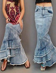Women's Bohemian Fashion Casual Vintage Jeans Maxi Skirt