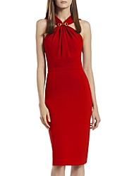 Women's Formal Sexy Sheath Dress,Solid Halter Knee-length Sleeveless Red Polyester All Seasons