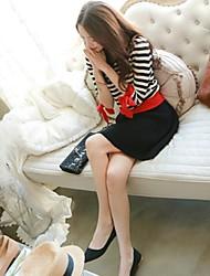 MQN  Sweet Stripes Splicing Bow Decorative Knitwear