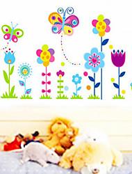 Owl Cartoon Belle Et Papillon Chambre Fleur enfants autocollant mur