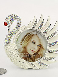 "1.75""H Modern Style Metal Swan Shape Picture Frame"