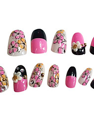 12PCS Pink Flowers Design Nail Art Tips With Glue