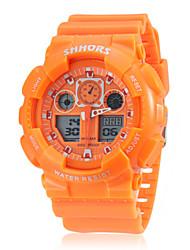 Мужской Спортивные часы Кварцевый LCD Календарь Секундомер С двумя часовыми поясами Группа Черный Белый Оранжевый Зеленый