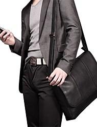 Los hombres clásicos del cuero genuino de hombro Negro Bienes Messenger Bag Maletín para el ordenador portátil del iPad LARGE