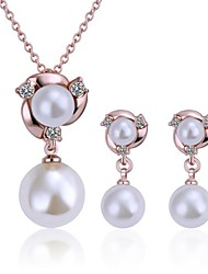 Women's 18K Rose Gold Double Pearl (Necklace&Earrings) Jewelry Sets