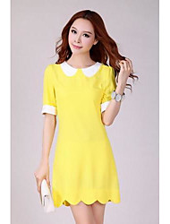Women's Casual / Plus Sizes Solid A Line Dress , Peter Pan Collar Above Knee Polyester