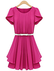 MFL Folding Waist Dress  (Fuchsia)