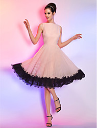 TS Couture® Cocktail Party / Holiday Dress - Pearl Pink Plus Sizes / Petite A-line Bateau Knee-length Chiffon