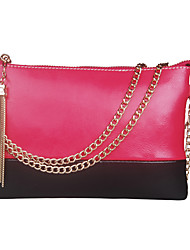 Mega Simple Handbag Messenger Bag Leather Long Chain Bag (Fuchsia)