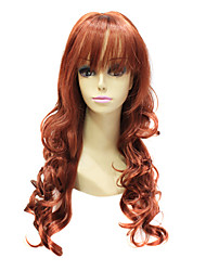 Capless High Quality Synthetic Janpanese Kanekalon Long Auburn Red Curly Hair Wig