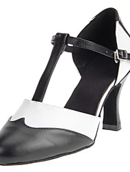 Real Leather Oxford Style T Strap Chuncky Heel Modern Dance Shoes For Women