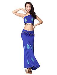 Dancewear surpreendente algodão mercerizado Lantejoulas Alças Dança do Ventre roupas para mulheres (Top e saia)