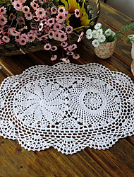 AURORA Set of 4 White Traditional Style Hollow Out Handmade Cotton Placemats