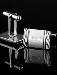 Personalized Rectángulo Regalo Mancuernas grabadas plata con diamantes de imitación