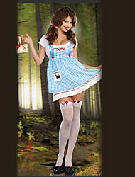 Sweet Girl Azul Grids Padrão Maid Uniform