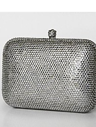 Simple Square Design Silver Crystal Clutch Purse