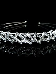 Women's / Flower Girl's Rhinestone Headpiece-Wedding Headbands Silver Round