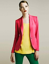 Women's Black/Blue/Green/Pink/Yellow Blazer , Casual Long Sleeve