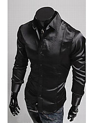 Men's Fashion Emulation Silk Shiny Leisure Long Sleeve Shirt