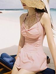 Women's Halter Multi-pieces , Solid Nylon/Spandex Pink