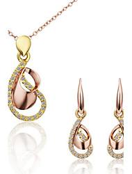 Parure collier et boucles d'oreilles - en Alliage/Or Rose/Crystal - Vintage/Soirée/Travail/Tous les jours - Femme