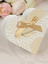 Teste padrão do coração da flor do ouro em forma de caixa de favor com arco - conjunto de 12