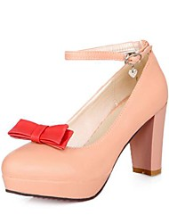 Women's Chunky Heel Pumps Platform Heels with Bowknot Shoes(More Colors)