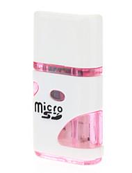 USB 2.0 Micro SD Memory Card Reader (Black/Pink)