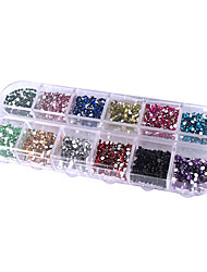 12-Color Circular Nail Art Glitter Tips Rhinestone Decorations