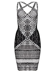2014 New Arrival Serpentine Printed Halter Strap Sexy Bandage Dress